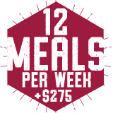 12 Meals per week Plus $275 Plan